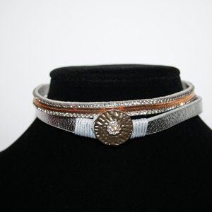 Silver and gold choker necklace